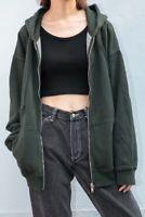 Brandy Melville green oversize fleece zip up Carla hoodie jacket NWT S/M