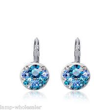 Blue Gem Girls Women Silver Crystal Rhinestone Earrings Studs