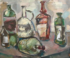 Still life with bottles oil painting