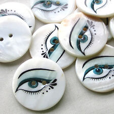New 12pcs White Shell Buttons 30mm EYE Sewing Craft Mix Lots