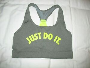 Nike Sports Bra Just Do It Sz M Medium Gray Neon Yellow Racerback Womens Juniors