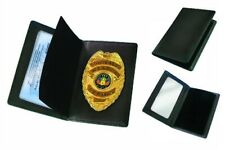 Concealed Carry Gold Badge And Wallet CWPD CCL Leather Black