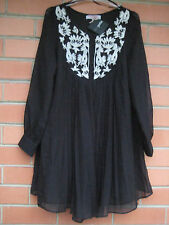 BLACK SHEER PLEATED EMBROIDERED Sz 8 DRESS ASOS PETITE LONG SLEEVE NEW w TAG