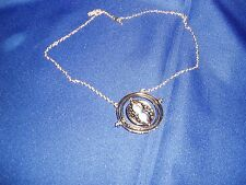 Harry Potter Hermione  Rotating Time Turner Necklace Gold Hourglass 2014 NEW