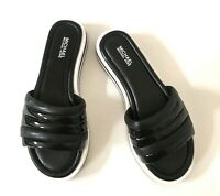 WMN Michael Kors Conrad Slide Sandals Padded Strap & Insole Leather Black/White