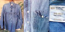 VTG 60s 70s JC PENNEY BIG MAC CHAMBRAY BLUE 100% COTTON USA WORK UTILITY SHIRT