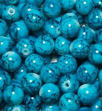 25 x 10mm Turquoise Marbled Painted Glass Beads For Jewellery Making