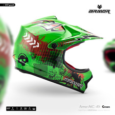 ARMOR AKC-49 Green KIDS Moto-Cross Helmet Off-Road ATV Enduro BMX XS S M L XL
