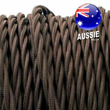 Dark Brown TWIST 3 core cord vintage style lighting electrical fabric cable 1m