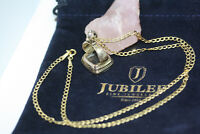 "Antique Victorian Watch FOB Pendant 10K Solid Gold Cuban Curb Women Necklace 18"""