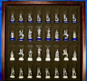 1983 Franklin Mint Pewter/Brass Civil War Chess Set Fully Documented