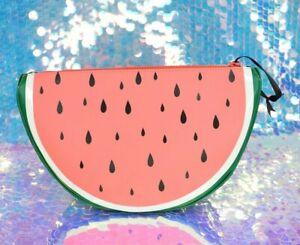 WATERMELON Slice Clutch Zippered Bag Purse Coral Pink White Polka Dots M964