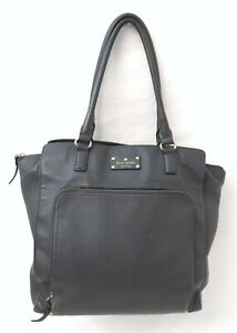 Kate Spade Dark Grey Leather Large Satchel Shoulder Bag Purse