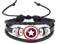 Marvel's Captain America Shield Logo Glass Domed Braided Leather Bracelet