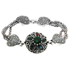 Flowers Luxury Vintage Style Green Stones Antique Silver Hearts Bracelet Bb191
