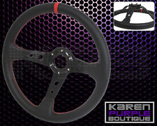 Black Red Stitch Deep Dish PVC Leather Racing Steering Wheel 350MM Horn 14 Inch