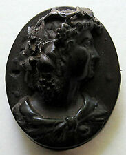 ANTIQUE VICTORIAN CARVED DIMENSIONAL BOG OAK BACCHANTE CAMEO PIN