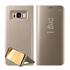 Luxury Mirror Smart Clear Flip Case Cover for Samsung Galaxy S7 Edge S8 Note 8 Samsung S8 Gold