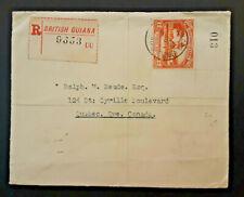 1938 British Guiana To Quebec Canada Registered Cover