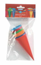 6 Schultüten 12cm mit Kreppapierverschluss Dekoschultüten 6 Farben