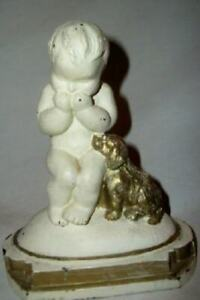ANTIQUE BABY DOG FIGURE BOOKEND PAINTED SPELTER 1926 J.L. DRUCKLIEB CHIC SHABBY