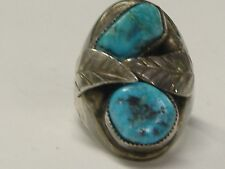 Gent'S Ring Size 9.75 Silver Native American Natural Turquoise