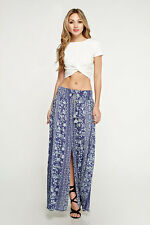 Lovestitch Printed Floral Smocked Waist Tie Front Maxi Skirt - Boho love!