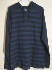 Hurley Hooded Long Sleeve Henley NWT L Blue Striped