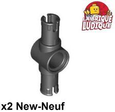 Lego Technic- 2x Pin 3L Friction Ridges center pin noir/black 87082 NEUF
