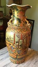 """Large 14"""" GORGEOUS Satsuma Vase Beading Gold Leaf Handles Flowers, Courtesans"""