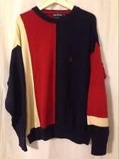 Vintage Nautica Vertical Blue Red Cream Multi Color Large Cotton Sweater