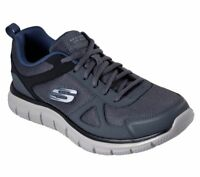 Mens Gray Navy Skechers Shoes Memory Foam Sport 52631 Comfort Train Mesh Leather