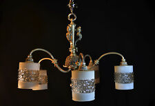 Chandelier Art Nouveau vintage silver-plated antique French 1930 5 opaline shade
