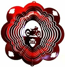 Stainless Steel Motorcycle - 12 Inch Wind Spinner, Red