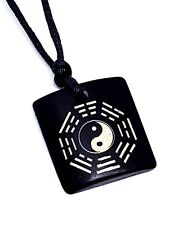 Yin Yang Bagua Pendant Wooden Carbed Adjustable Cord Necklace Chinese Feng Shui