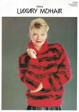 """CH1029A LADIES MOHAIR STRIPED COLLARED SWEATER KNITTING PATTERN 30-40""""/76-102cm"""