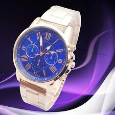 Luxury Womens Fashion Stainless Steel Quartz 3 Dials Date Analog watch R Blue UB