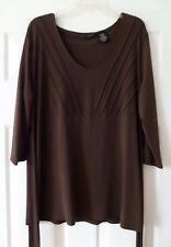Apostrophe' 16/18 Brown Shirt/Tunic 3/4 Sleeves EUC