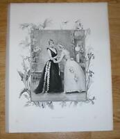 ANTIQUE VICTORIAN WOMAN BALL GOWN DRAGONFLY IRIS CALLA LILY PALM BOTANICAL PRINT