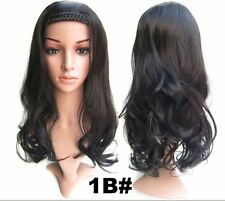 Sexy Off Black Braided Hair Band Long Curly Half Wig Hair Piece BW8-1B