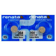 364 Renata SR621W Watch Batteries Silver Oxide 0% Mercury 2 Pcs