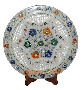 """12"""" Marble Designer Plate Lattice Work Multi Floral Inlay Home Decor Gifts P038"""