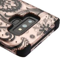 FOR SAMSUNG GALAXY NOTE 9 ROSE GOLD PAISLEY TUFF ARMOR 3-PIECE CASE COVER