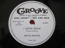 "BEATRICE READING ~ I GOTTA KNOW / I'D GLADLY~ 10"" 78 RARE R&B BLUES GROOVE PROMO"
