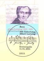 BRD 2001: Albert Lortzing Nr. 2163 mit Bonner Ersttagssonderstempel! 1A! 1704