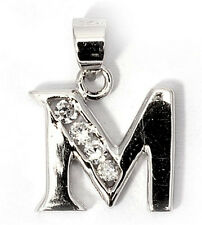 Alphabet CZ Pendants Sterling Silver 925 Initial Choices A to Z Jewelry Letter M