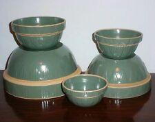 Blue Green Stoneware Mixing Bowl Nesting Set of 5 Yellowware Crock Made in USA