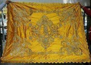 1890 Silver Metallic Raised Embroidery Seasonal Tablecloth Gold Silk 74x60 Star