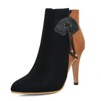 Women Plus Size Ankle Boots Suede Zipper High Heel Winter Ladies Booties Shoes