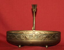 Antique Art Deco Footed Floral Brass Basket Bowl